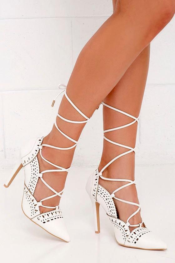 Chic White Heels Lace Up Heels Cutout Heels Brogue