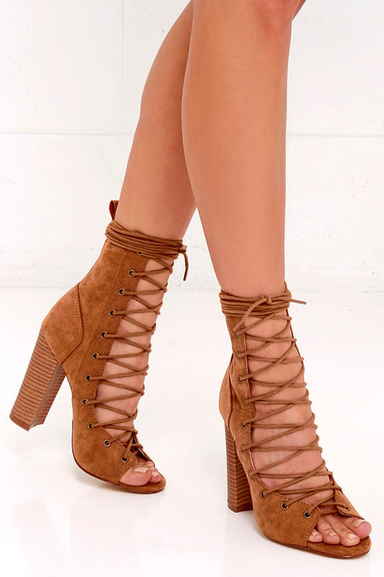 Stylish Tan Booties - High Heel Booties - Lace-Up Booties - $40.00