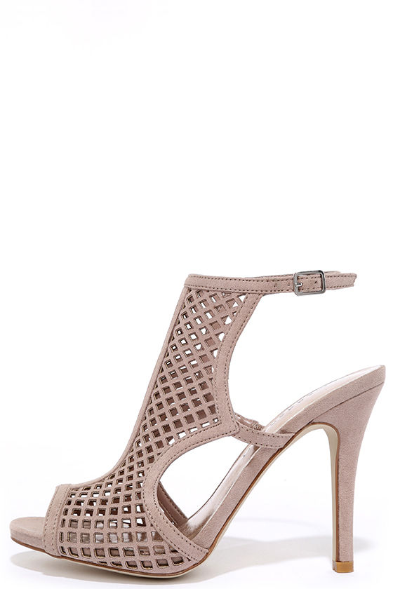 aaf72592aed Madden Girl Regalll Taupe Suede Caged Heels