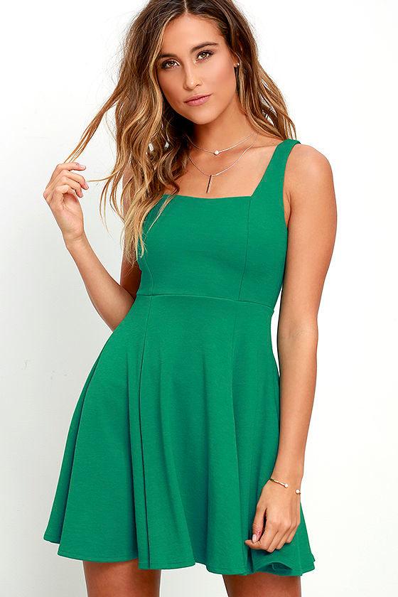 c69784a339 Lovely Green Dress - Skater Dress - Knit Dress - Fit and Flare Dress -   46.00