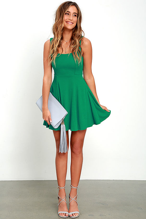 1d783d4e61 Lovely Green Dress - Skater Dress - Knit Dress - Fit and Flare Dress ...
