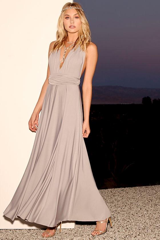 c4daf419051 Lovely Light Grey Dress - Convertible Dress - Jersey Knit Maxi - $64.00