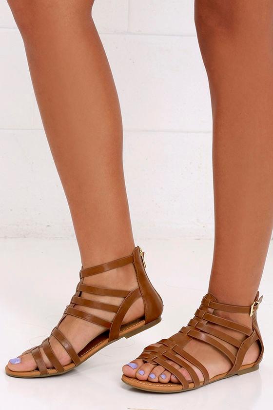 6a112e6f3c6 Stylish Tan Sandals - Vegan Leather Sandals - Gladiator Sandals -  22.00