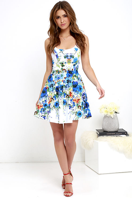 a1a893cfe9f27 Pretty Ivory Dress - Floral Print Dress - Skater Dress - $68.00