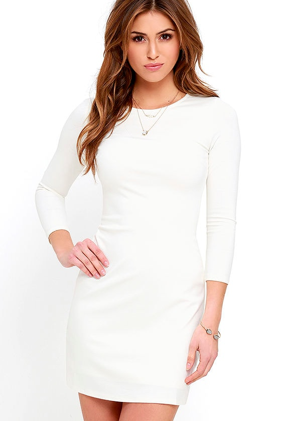 f5e8eeb73c4a Classic Ivory Dress - Long Sleeve Dress - A-line silhouette -  48.00