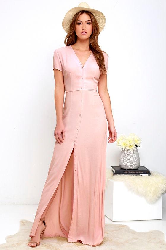 736f514f80d Lovely Blush Pink Dress - Short Sleeve Dress - Maxi Dress -  63.00