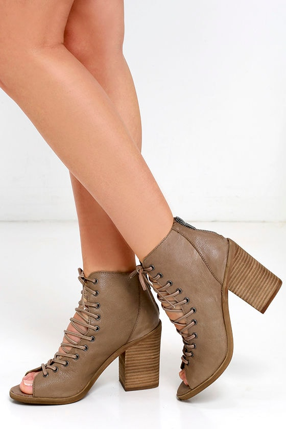 e74b2d6b7ea Steven Madden Temptng - Taupe Booties - Lace-Up Booties -  129.00