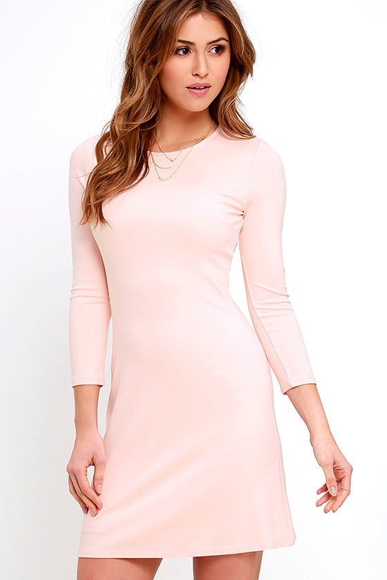 Classic Light Pink Dress - Long Sleeve Dress - A-Line Dress - $48.00
