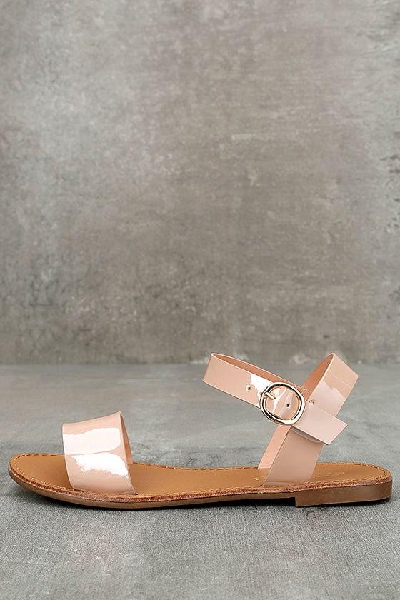987571916 Cute Blush Sandals - Flat Sandals - Ankle Strap Sandals - $17.00