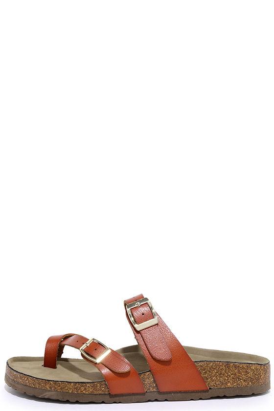 227701d43299 Madden Girl Bryceee - Cognac Slide Sandals - Cork Sandals -  49.00