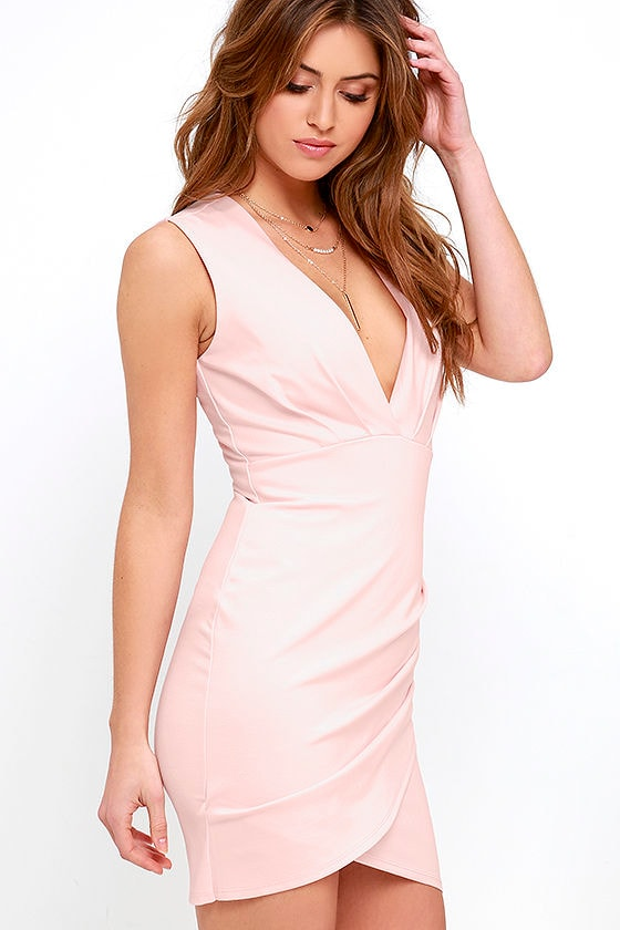 Blush Pink Dress - Wrap Dress - Sleeveless Dress - $48.00