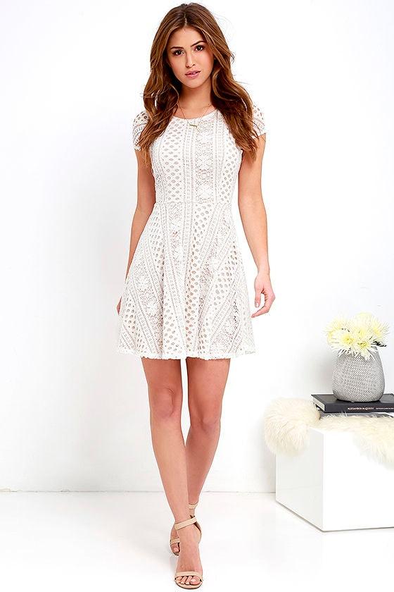 80e9545a46e804 Lace Dress - Skater Dress - Beige and Ivory Dress - White Dress ...