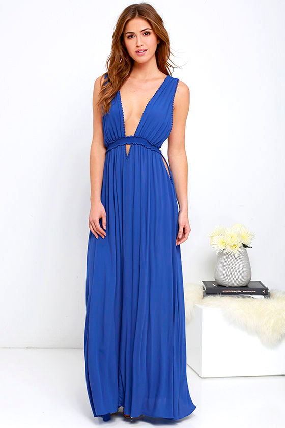 Maxi Dress Royal Blue Dress Sleeveless Dress 76 00