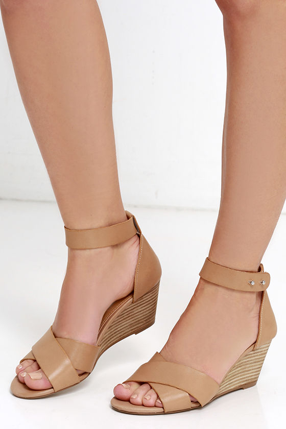 7945c5ee5359 Steve Madden Nilla - Tan Leather Sandals - Wedge Sandals -  79.00