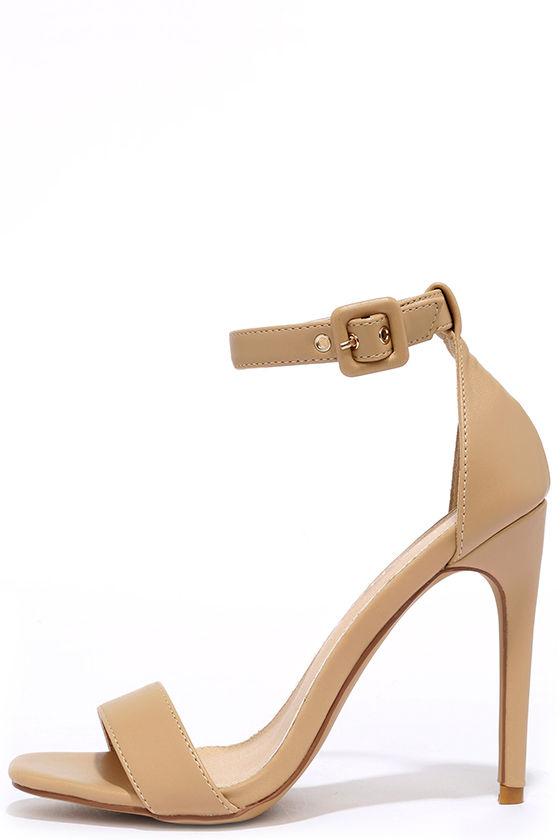 Nude Heels - Ankle Strap Heels - Beige Heels - $30.00