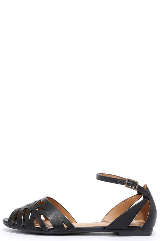 247f833d3f9 Black Flats - Peep Toe Flats - Ankle Strap Flats -  23.00