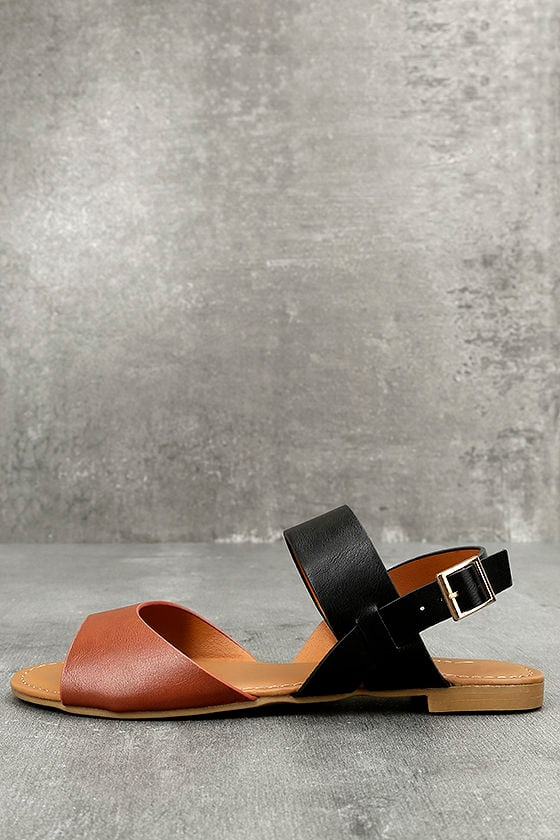 Tan and Black Sandals - Flat Sandals