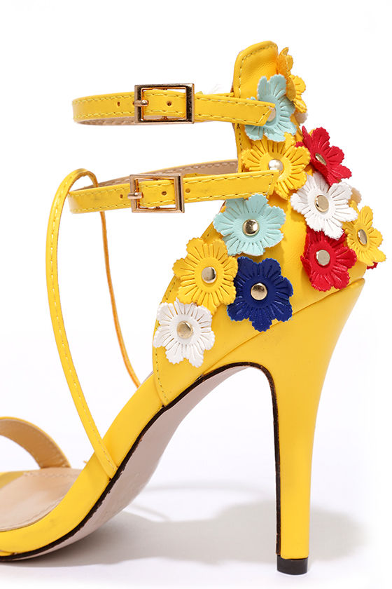 Fun Yellow Heels - Flower Heels - High Heel Sandals - $35.00