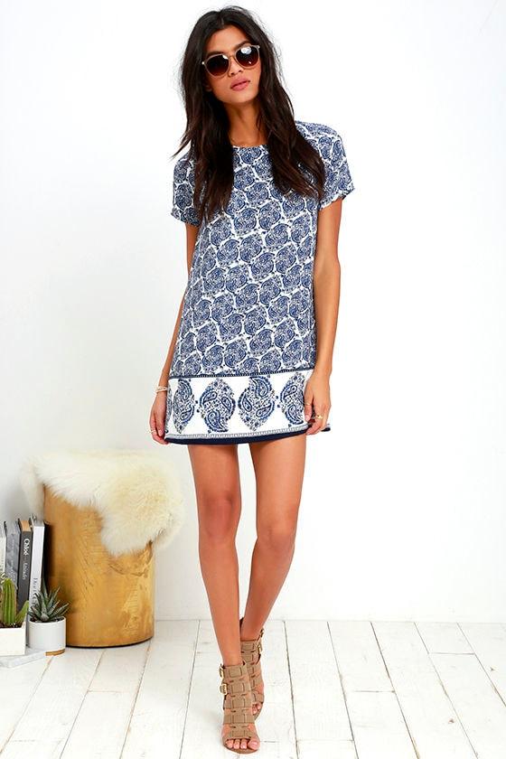 Taj Mahal Tour Blue Print Shift Dress 2