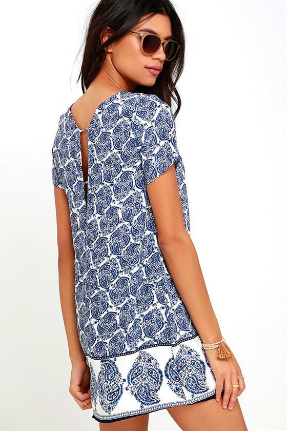 Taj Mahal Tour Blue Print Shift Dress 3