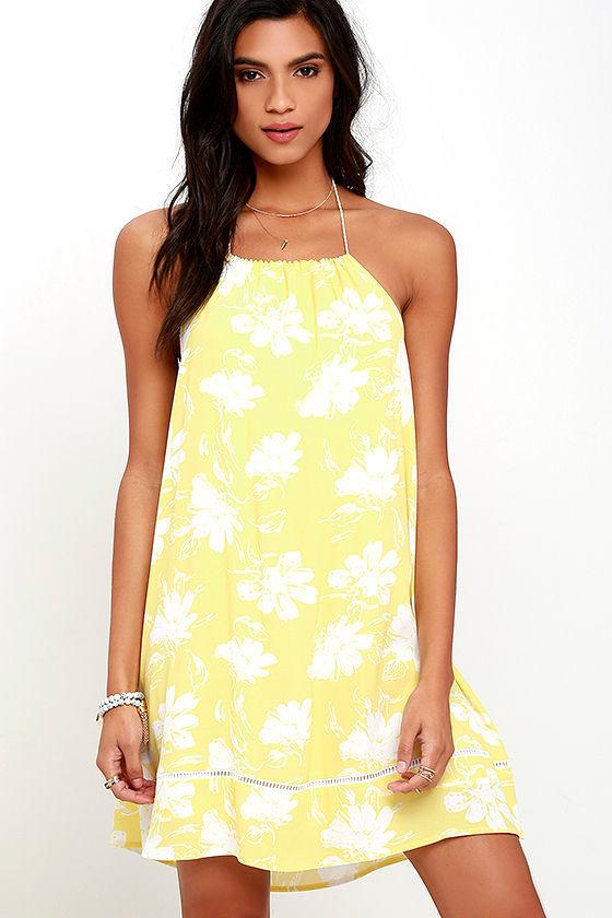 Honolua Bay Yellow Floral Print Halter Dress