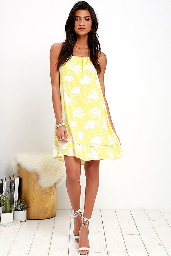 e11e141c260 Floral Print Dress - Yellow Dress - Halter Dress - Backless Dress ...