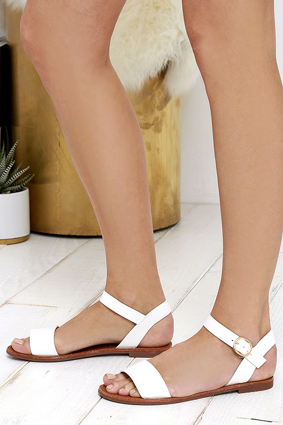 Hearts and Hashtags White Flat Sandals 2
