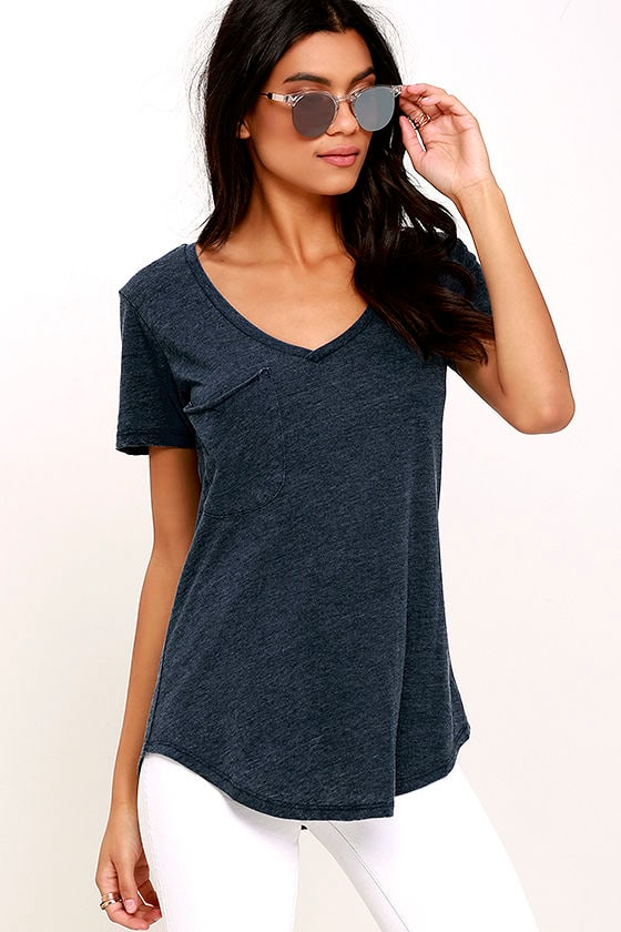 Z Supply Pleasant Surprise Washed Navy Blue Tee 1