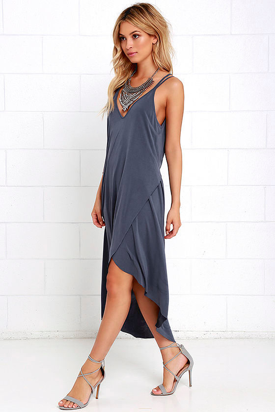 Mood and Melody Washed Blue High-Low Dress 2