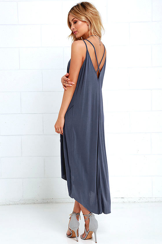Mood and Melody Washed Blue High-Low Dress 3