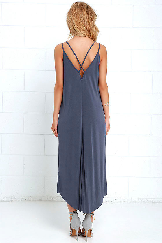 Mood and Melody Washed Blue High-Low Dress 4