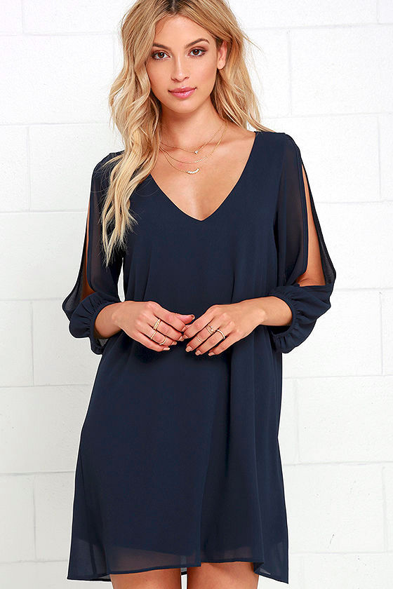Pretty Navy Blue Dress - Shift Dress - Cold Shoulder Dress - $44.00