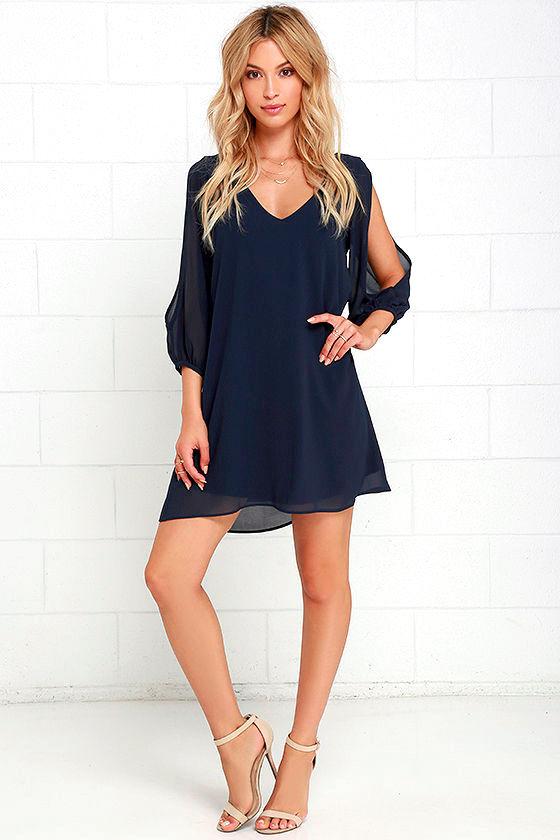 Pretty Navy Blue Dress - Shift Dress - Cold Shoulder Dress - $44.00