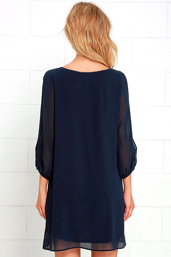 Shifting Dears Navy Blue Long Sleeve Dress 4
