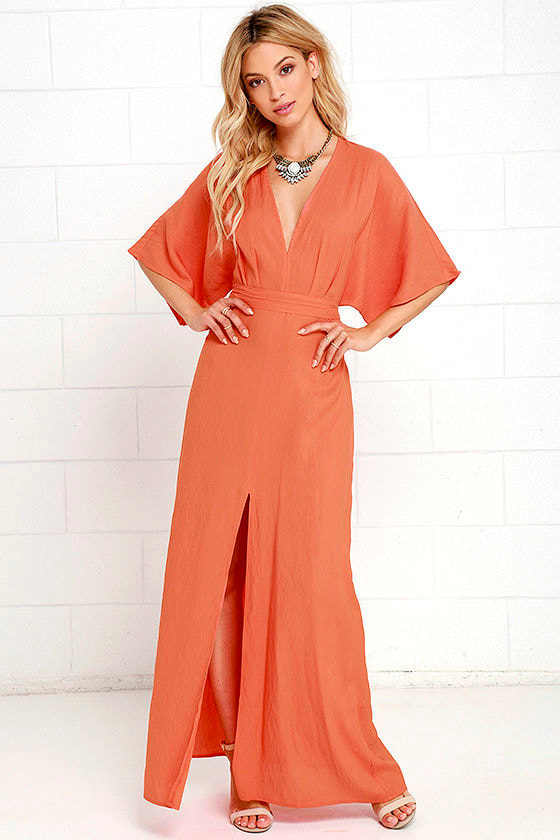 Coral Orange Dress - Maxi Dress - Short Sleeve Dress - $72.00