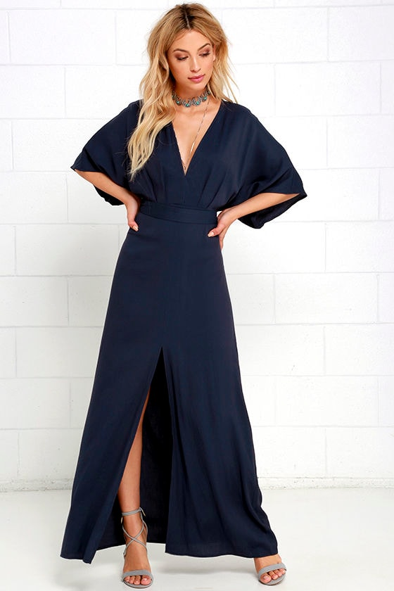 Navy Blue Dress - Maxi Dress - Short Sleeve Dress - $72.00