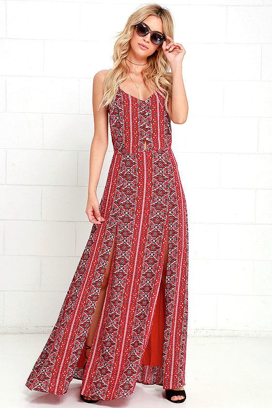 Lovely Red Dress - Print Dress - Maxi Dress - $79.00