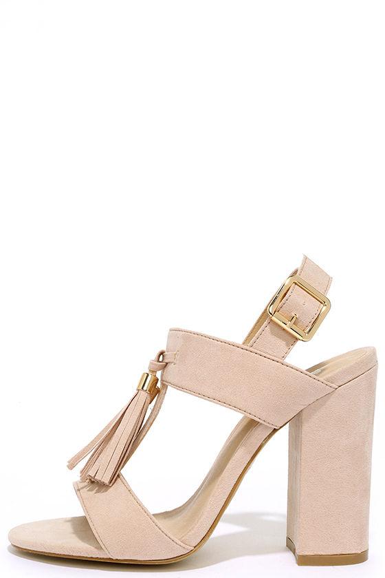 Stylish Nude Heels - Vegan Suede Heels - Block Heels - $43.00