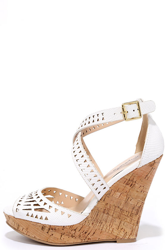 48a5df458094b White Wedges - Laser Cut Wedges - Wedge Sandals -  32.00