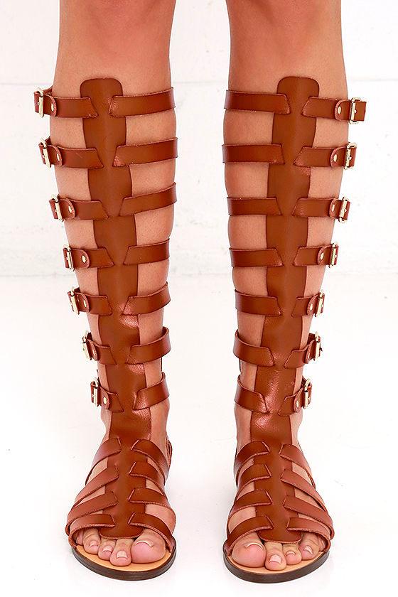 8f4c1ca3cbb1 Madden Girl Penna - Cognac Sandals - Tall Sandals - Gladiator ...