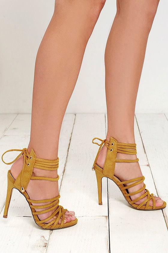 8bd886d673e Chic Yellow Heels - Suede Heels - Single Hole Heels -  40.00