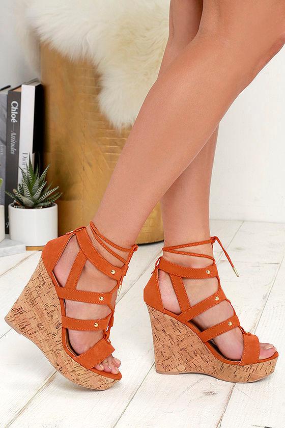 Lulus Brighter Suede Ankle Strap Wedges - Lulus