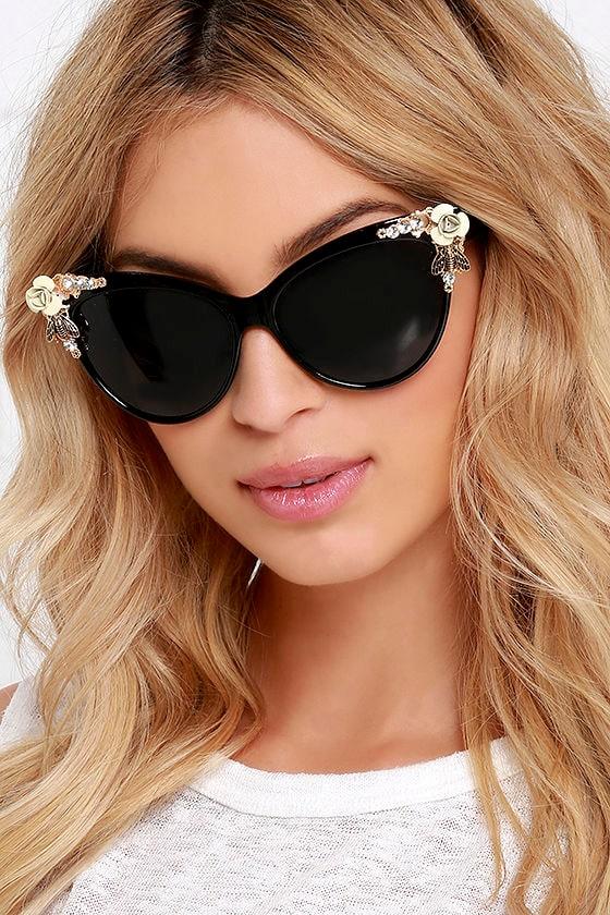 12199f8b1b8 Chic Black Sunglasses - Embellished Sunglasses - Cat Eye Sunglasses -  21.00