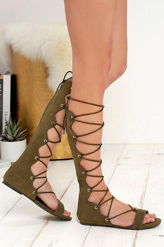 Cute Olive Green Sandals - Vegan Suede Sandals - Lace-Up Sandals ...