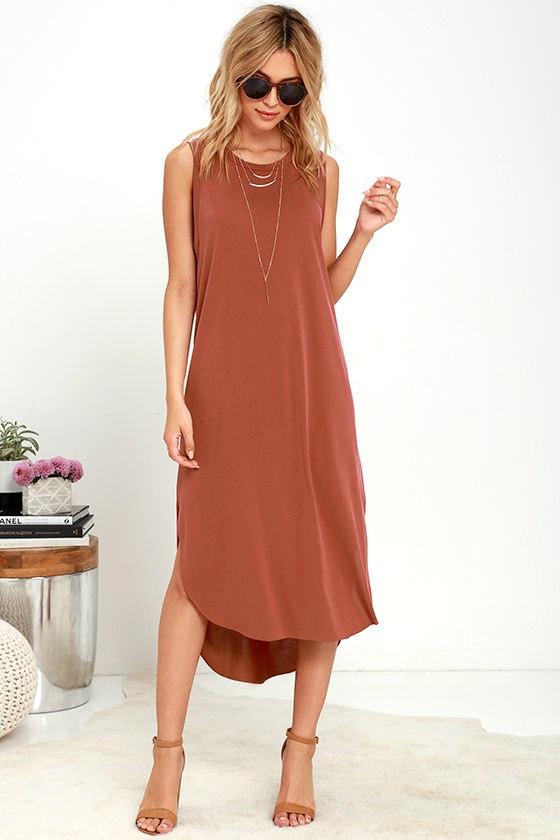 chic washed red dress sleeveless dress midi dress 4200