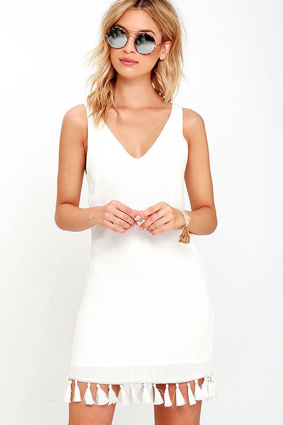 4040a7b1878d Cute Ivory Dress - Fringe Dress - Tassel Dress - Shift Dress -  56.00
