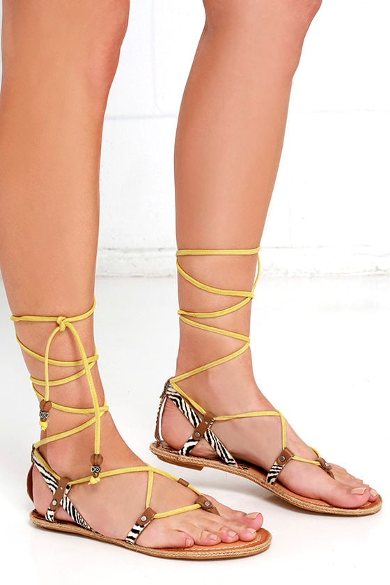 29531af2aedb Dolce Vita Karma Yellow Multi Sandals - Lace-Up Sandals - Calf Hair Sandals  -  80.00