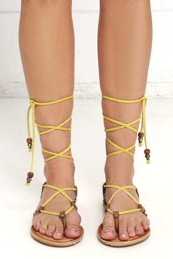 44644207499 Dolce Vita Karma Yellow Multi Sandals - Lace-Up Sandals - Calf Hair ...