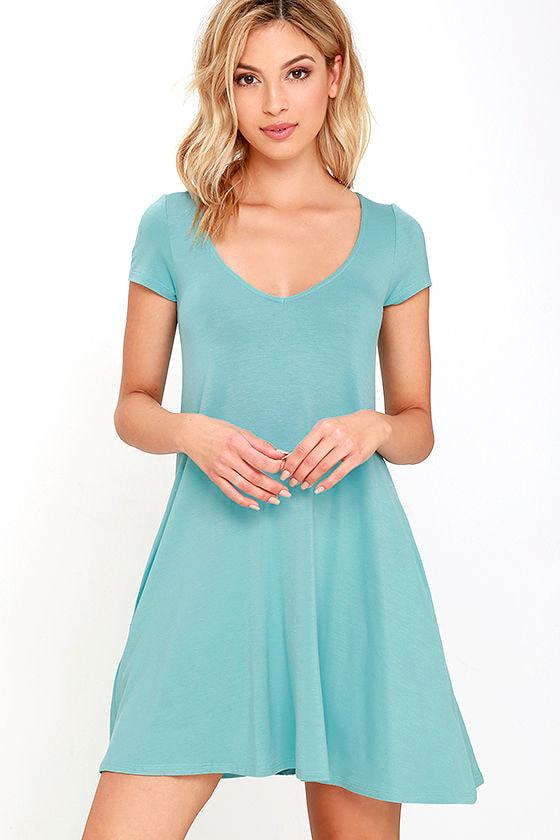 51cc1c0fcdb64 Cute Robin's Egg Blue Dress - Swing Dress - Short Sleeve Dress - $33.00