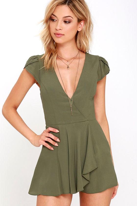 264a0a85f33d Olive Green Romper - Short Sleeve Romper -  38.00